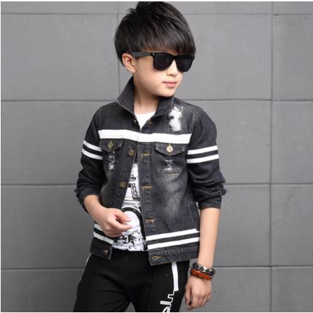 王菲儿 童装2016新款男童秋装牛仔夹克外套条纹款中大童秋款牛仔衣