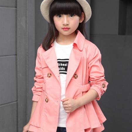 王菲儿 童装2016秋装新款女童外套 女童中长款双排扣公主外套潮