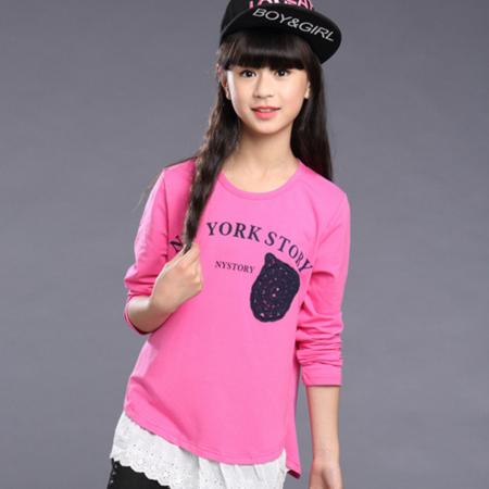 王菲儿 童装2016新款秋装女童打底衫纯棉 韩版女大童长袖t恤秋款儿童上衣