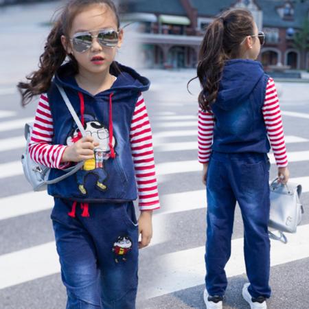 王菲儿 童装秋季2016新款秋季 韩版女童牛仔马甲裙子条纹上衣套装 儿童三件套