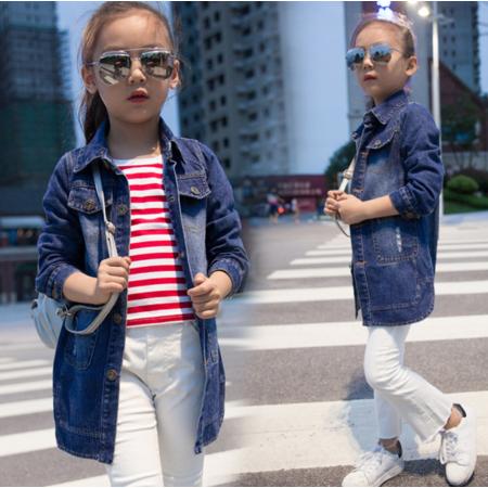 王菲儿 2016童装新品韩版款秋女童牛仔服外套 女童字母牛仔风衣潮版