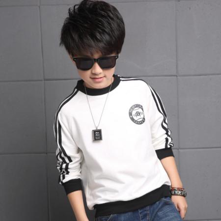王菲儿 2016秋季新款 韩版男童打底衫儿童长袖T恤 男孩V字罗纹长袖卫衣
