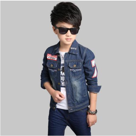 王菲儿 童装男童牛仔外套新款2016儿童时尚韩版上衣大童A字牛仔外套