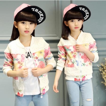 王菲儿 童装女童2016秋季新款夹克 韩版中大纯棉花朵镂空花外套 儿童上衣