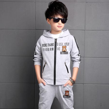 王菲儿 2016秋款中大男童装卫衣小熊运动套装 纯棉正码两件套