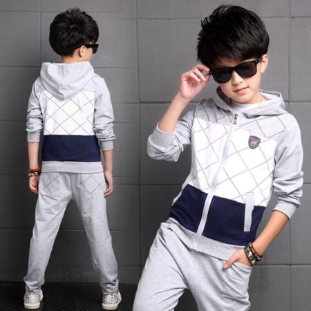 王菲儿 2016秋款中大男童装卫衣拉链运动套装 纯棉正码两件套