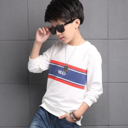 王菲儿 男童2016秋新款长袖卫衣童装 横条印花长袖T恤韩版潮