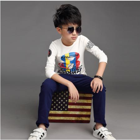 王菲儿 男孩春秋装2016潮儿童体恤衫打底衫 男童8字t恤长袖