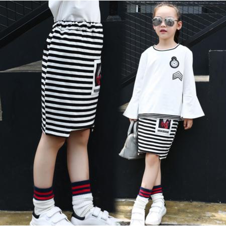王菲儿 童裙2016秋季新款女童半身裙韩版海军条纹裙童裙儿童时尚短裙