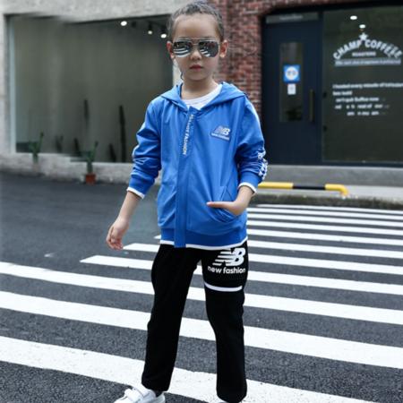 王菲儿 童装2016儿童秋装中性版连帽新品印花运动套装韩版男女童两件件套
