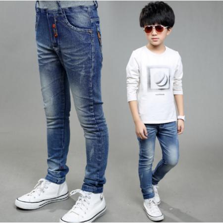王菲儿 新款男童牛仔裤2016秋季韩版中大童儿童纯色长裤
