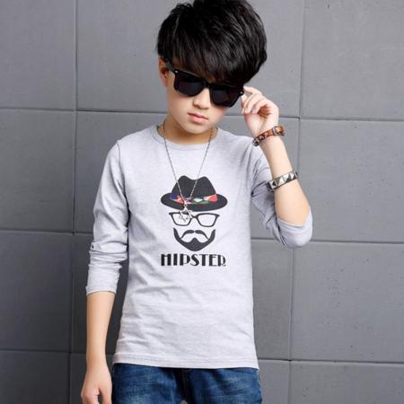 王菲儿 2016秋款新品韩版童装男童长袖T恤中大童印花图案打底衫