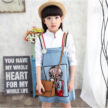 王菲儿 新款女童秋季 2016韩版美女背带裙 儿童可爱学生背带裙