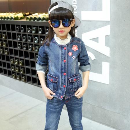 王菲儿 2016秋款新款 韩版时尚女童中大童花朵图案2件套套装