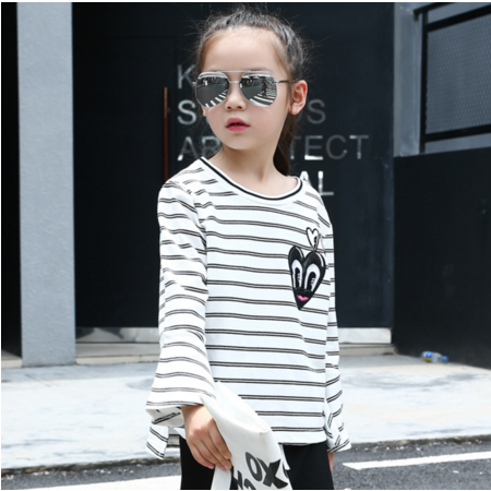 王菲儿 童装2016年新款女童 百搭打底衫秋女孩眼睛条纹T恤外套潮