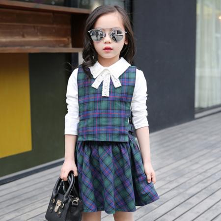 王菲儿 2016秋款新装 女童格子三件套 中大童套装女童三件套