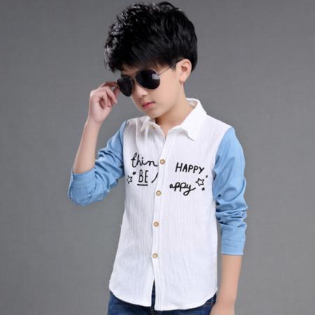 王菲儿 童装秋款2016秋装新款韩版长袖中大童男童棉麻牛仔袖衬衣