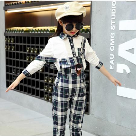 王菲儿 2016女童套装两件套中大童秋儿童纯棉背带裤格子套装