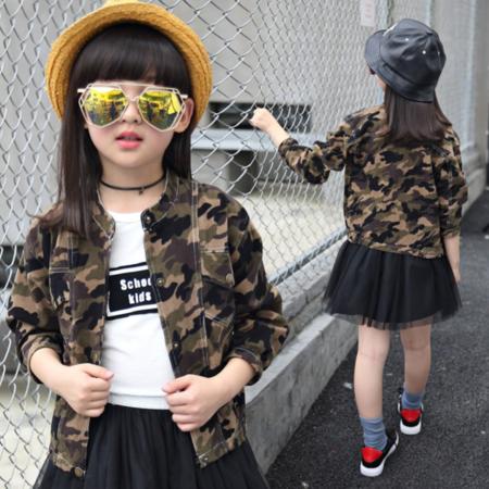 王菲儿 韩版童装 2016新款秋款女童夹克衫女童外套 儿童迷彩上衣