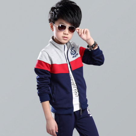 王菲儿 2016秋装男童拼色套装 中大童立领拉链开衫套装儿童休闲2件套