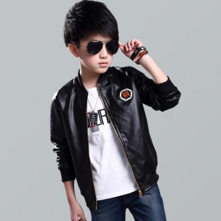 王菲儿 2016新款装男童皮外套 儿童皮革夹克中大童绣花标时尚皮衣