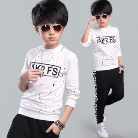 王菲儿 童T恤 2016秋季男童新款韩版秋款儿童长袖打底衫 中大童纯棉泼墨圆领T恤