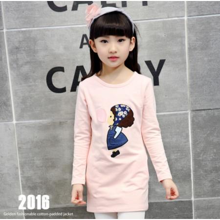 王菲儿 2016秋季新品童T恤女童可爱卡通美女纯棉打底衫