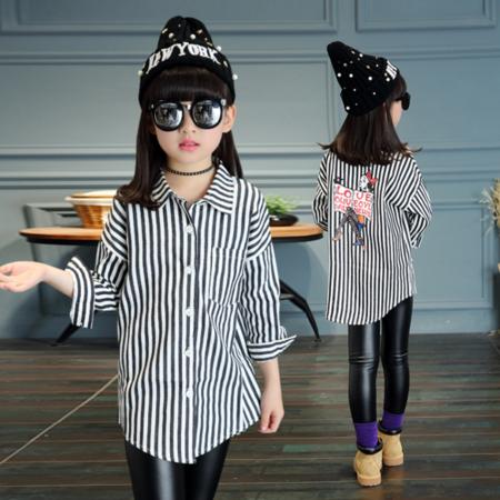 王菲儿 童装2016秋款新品女童韩版中大童黑白条纹衬衣潮