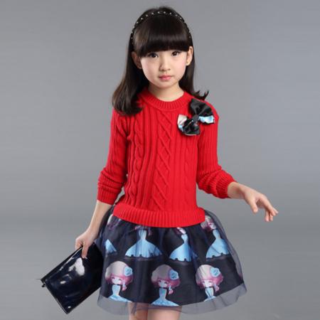 王菲儿 童装2016秋季新款女童连衣裙儿童长袖裙子中大童裙子