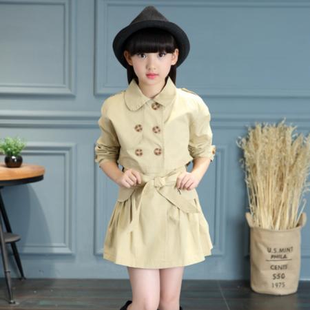 王菲儿 2016韩版女童外套 女童秋装纯色时尚风衣两件套 童装