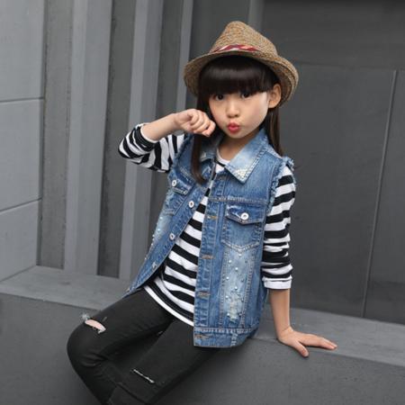 王菲儿 2016新款童装秋季女童中大条纹T恤+马甲两件套潮