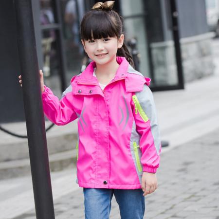 王菲儿 2016女童秋装新款衬衫领开衫登山服 儿童运动潮长袖冲锋衣 中大童外套