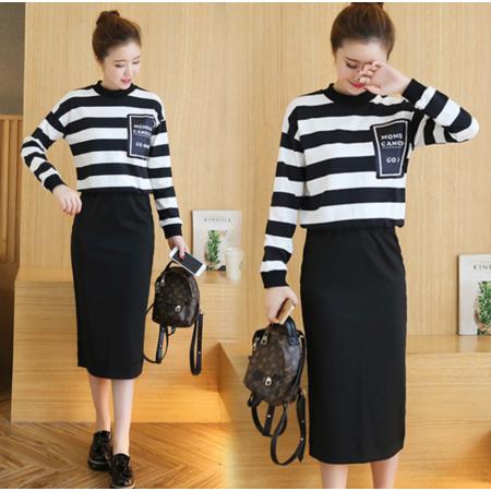 2016秋冬韩版时尚条纹卫衣半身裙修身显瘦套装两件套