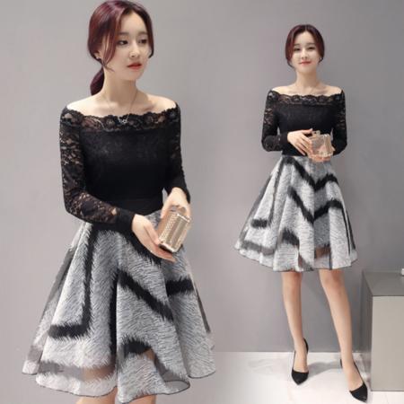 2016秋新款韩版女装 蕾丝连衣裙 一字领打底裙子女