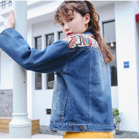 2016秋季新款韩版学院风宽松绣花牛仔外套女长袖上衣潮