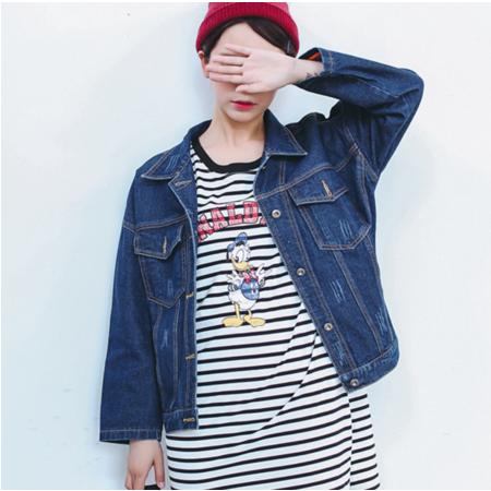 2016秋季新款韩版学院风宽松口袋牛仔外套女长袖上衣潮