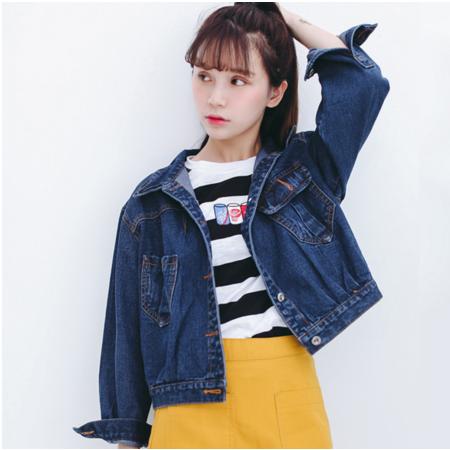 2016秋季新款韩版学院风宽松口袋牛仔外套女长袖上衣
