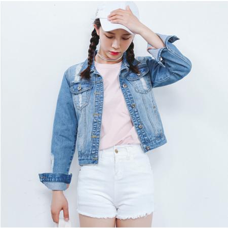 2016秋装韩版百搭破洞修身牛仔外套女短外套长袖上衣潮