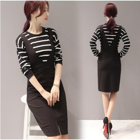 2016秋季韩版新款连衣裙 条纹上衣+背带裙套装 两件套女