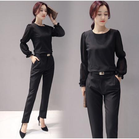 2016秋季韩版新款时尚两件套套装女 修身显瘦休闲套装女