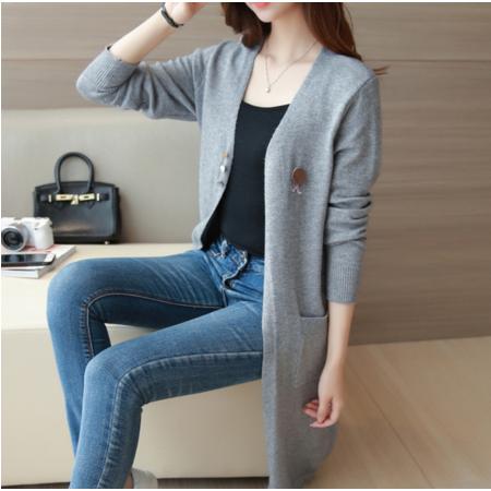 2016秋季新款韩版简约纯色中长款开衫宽长袖毛针织衫外套女