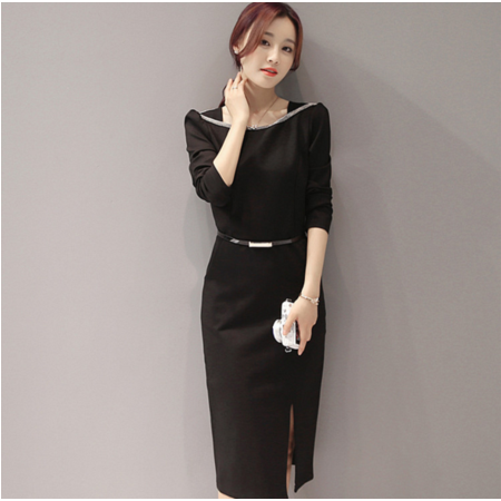 2016秋冬韩版新款连衣裙 修身显瘦一步裙(送腰带)
