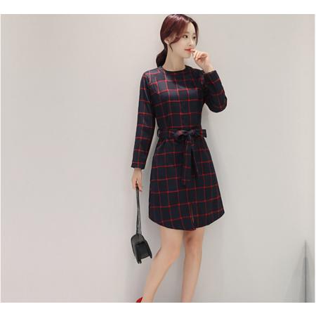 2016秋季韩版新款格子连衣裙 蝴蝶结系带收腰打底裙子女