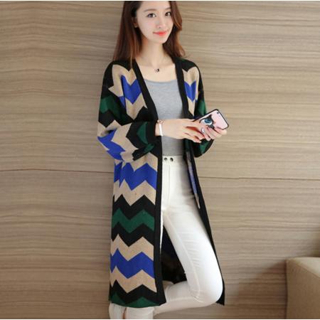 2016秋装韩版中长款V领长袖宽松显瘦针织衫女毛衣开衫外套