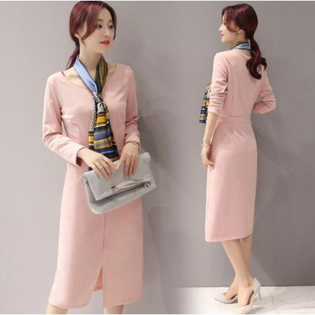 2016秋冬韩版新款女装中长款圆领长袖连衣裙子