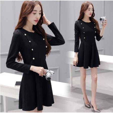 长袖连衣裙2016秋女装修身显瘦收腰黑色短裙小黑裙