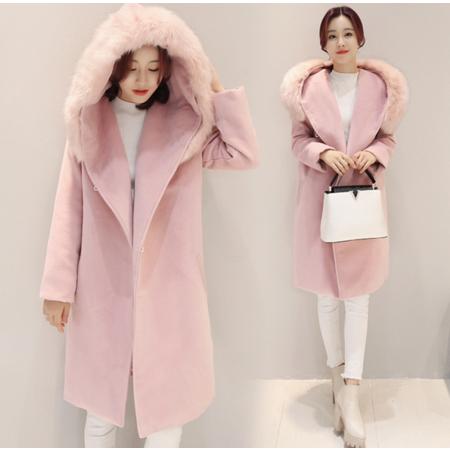 2016秋冬新款韩版新款呢子外套女 仿真狐狸毛领呢外套