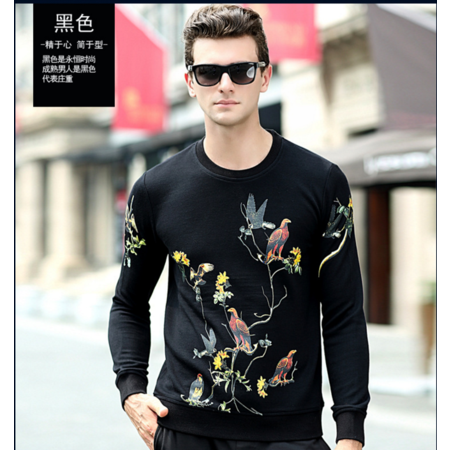 2016秋季新款男式长袖t恤 男士圆领印花T恤 时尚潮流男装品牌