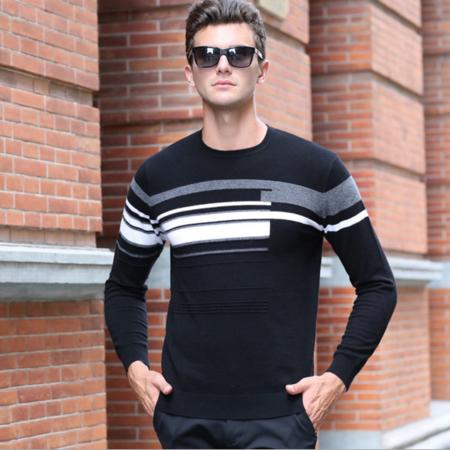 2016秋季新款男士羊毛衫百分百圆领 男式毛衣长袖图案