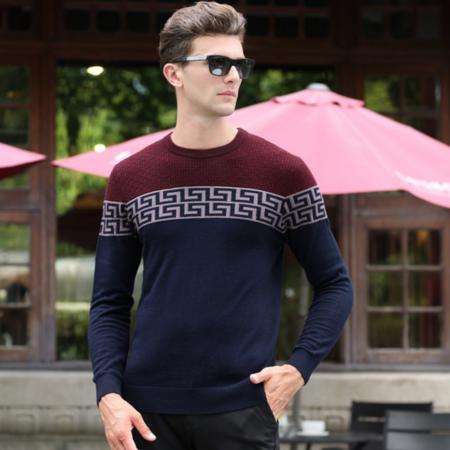2016秋季新款男士羊毛衫百分百圆领男式毛衣长袖男装